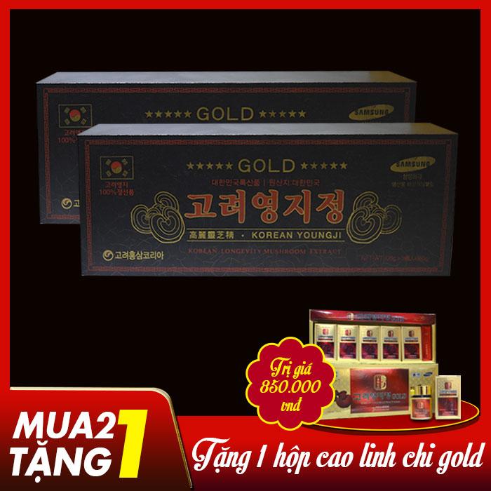 Cao linh chi Hàn Quốc (3 lọ x 120g)-hộp gỗ đen Gold L029