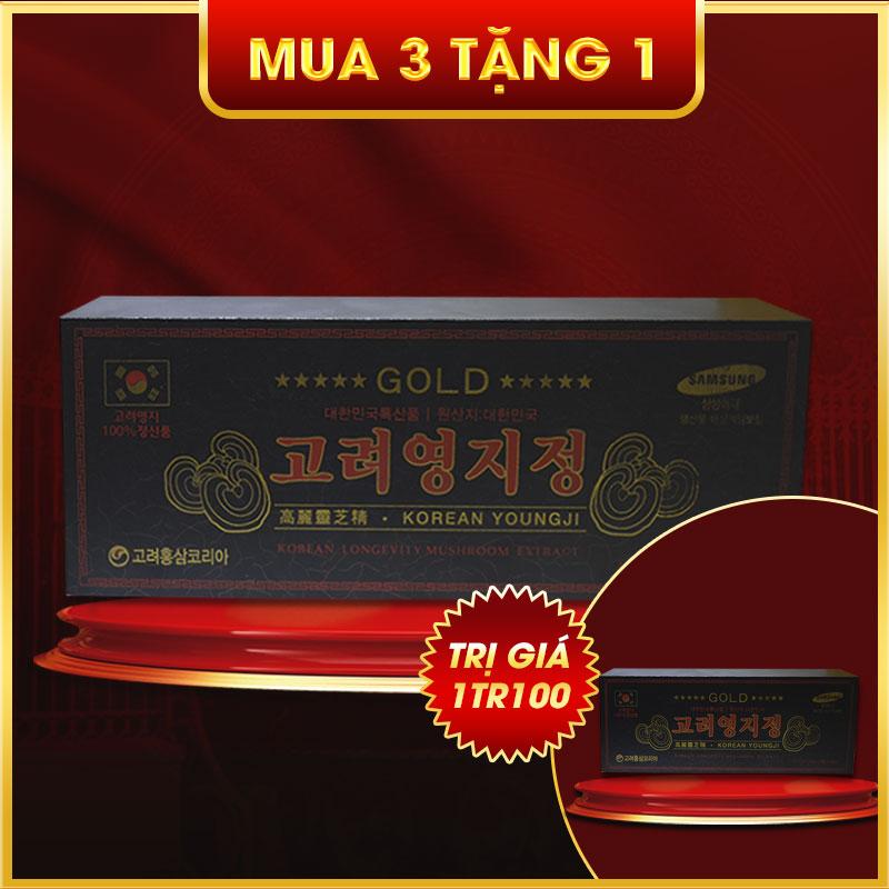 Hộp quà biếu Cao linh chi Hàn Quốc (3 lọ x 120g)-hộp gỗ đen Gold L029